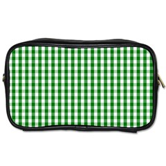 Christmas Green Velvet Large Gingham Check Plaid Pattern Toiletries Bags by PodArtist