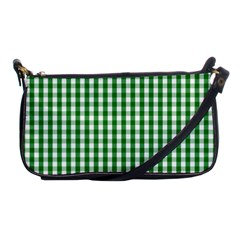 Christmas Green Velvet Large Gingham Check Plaid Pattern Shoulder Clutch Bags by PodArtist