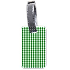 Christmas Green Velvet Large Gingham Check Plaid Pattern Luggage Tags (one Side)  by PodArtist