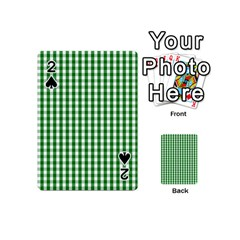 Christmas Green Velvet Large Gingham Check Plaid Pattern Playing Cards 54 (mini)  by PodArtist