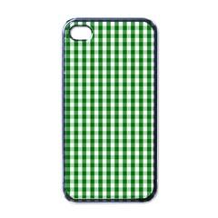 Christmas Green Velvet Large Gingham Check Plaid Pattern Apple Iphone 4 Case (black) by PodArtist