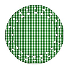 Christmas Green Velvet Large Gingham Check Plaid Pattern Ornament (round Filigree)