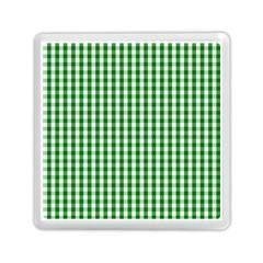 Christmas Green Velvet Large Gingham Check Plaid Pattern Memory Card Reader (square)