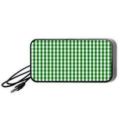 Christmas Green Velvet Large Gingham Check Plaid Pattern Portable Speaker (black) by PodArtist