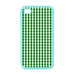Christmas Green Velvet Large Gingham Check Plaid Pattern Apple Iphone 4 Case (color) by PodArtist