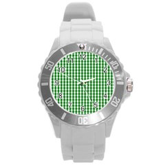 Christmas Green Velvet Large Gingham Check Plaid Pattern Round Plastic Sport Watch (l) by PodArtist