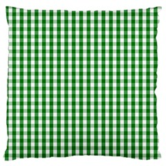 Christmas Green Velvet Large Gingham Check Plaid Pattern Large Cushion Case (two Sides) by PodArtist