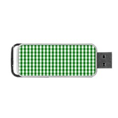 Christmas Green Velvet Large Gingham Check Plaid Pattern Portable Usb Flash (one Side) by PodArtist