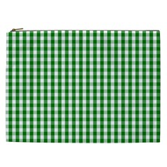 Christmas Green Velvet Large Gingham Check Plaid Pattern Cosmetic Bag (xxl)  by PodArtist