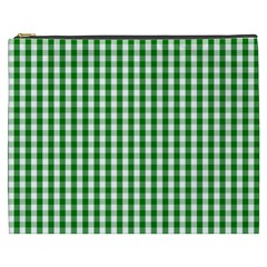 Christmas Green Velvet Large Gingham Check Plaid Pattern Cosmetic Bag (xxxl)  by PodArtist