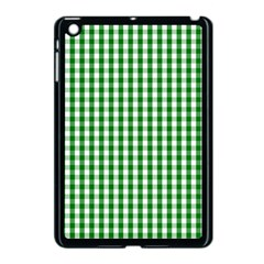Christmas Green Velvet Large Gingham Check Plaid Pattern Apple Ipad Mini Case (black) by PodArtist