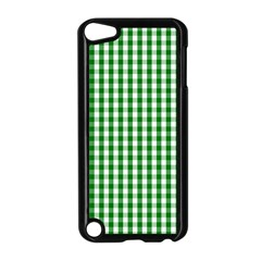 Christmas Green Velvet Large Gingham Check Plaid Pattern Apple Ipod Touch 5 Case (black) by PodArtist