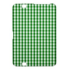 Christmas Green Velvet Large Gingham Check Plaid Pattern Kindle Fire Hd 8 9  by PodArtist