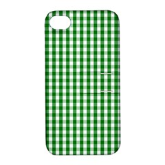 Christmas Green Velvet Large Gingham Check Plaid Pattern Apple Iphone 4/4s Hardshell Case With Stand by PodArtist