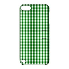 Christmas Green Velvet Large Gingham Check Plaid Pattern Apple Ipod Touch 5 Hardshell Case With Stand by PodArtist