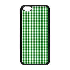 Christmas Green Velvet Large Gingham Check Plaid Pattern Apple Iphone 5c Seamless Case (black) by PodArtist