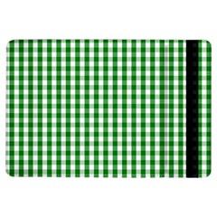 Christmas Green Velvet Large Gingham Check Plaid Pattern Ipad Air Flip by PodArtist