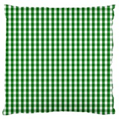 Christmas Green Velvet Large Gingham Check Plaid Pattern Large Flano Cushion Case (one Side) by PodArtist