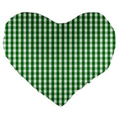 Christmas Green Velvet Large Gingham Check Plaid Pattern Large 19  Premium Flano Heart Shape Cushions by PodArtist