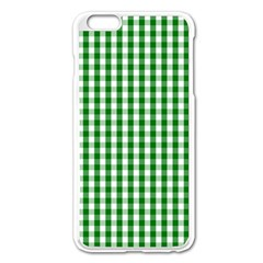 Christmas Green Velvet Large Gingham Check Plaid Pattern Apple Iphone 6 Plus/6s Plus Enamel White Case by PodArtist