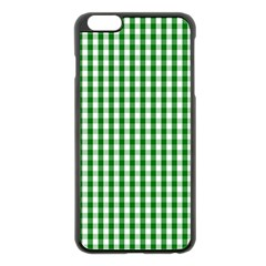 Christmas Green Velvet Large Gingham Check Plaid Pattern Apple Iphone 6 Plus/6s Plus Black Enamel Case by PodArtist