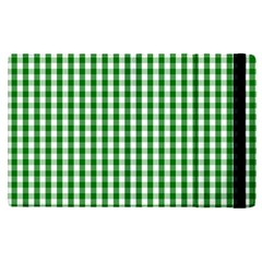 Christmas Green Velvet Large Gingham Check Plaid Pattern Apple Ipad Pro 9 7   Flip Case by PodArtist