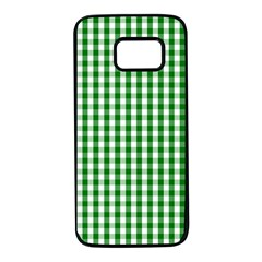 Christmas Green Velvet Large Gingham Check Plaid Pattern Samsung Galaxy S7 Black Seamless Case