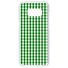 Christmas Green Velvet Large Gingham Check Plaid Pattern Samsung Galaxy S8 White Seamless Case by PodArtist