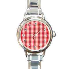 Christmas Red Velvet Large Gingham Check Plaid Pattern Round Italian Charm Watch by PodArtist