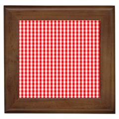 Christmas Red Velvet Large Gingham Check Plaid Pattern Framed Tiles by PodArtist
