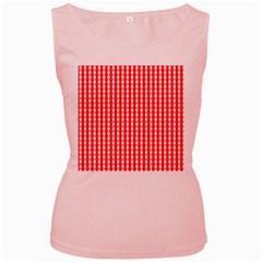 Christmas Red Velvet Large Gingham Check Plaid Pattern Women s Pink Tank Top by PodArtist