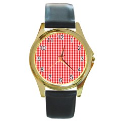 Christmas Red Velvet Large Gingham Check Plaid Pattern Round Gold Metal Watch by PodArtist