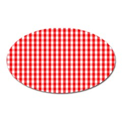 Christmas Red Velvet Large Gingham Check Plaid Pattern Oval Magnet by PodArtist