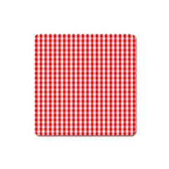 Christmas Red Velvet Large Gingham Check Plaid Pattern Square Magnet by PodArtist