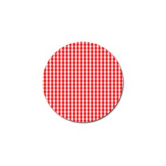 Christmas Red Velvet Large Gingham Check Plaid Pattern Golf Ball Marker (10 Pack) by PodArtist