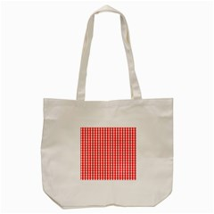 Christmas Red Velvet Large Gingham Check Plaid Pattern Tote Bag (cream)