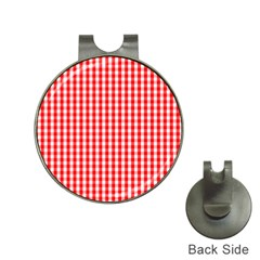 Christmas Red Velvet Large Gingham Check Plaid Pattern Hat Clips With Golf Markers by PodArtist