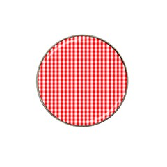 Christmas Red Velvet Large Gingham Check Plaid Pattern Hat Clip Ball Marker by PodArtist