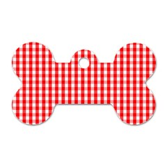 Christmas Red Velvet Large Gingham Check Plaid Pattern Dog Tag Bone (one Side) by PodArtist