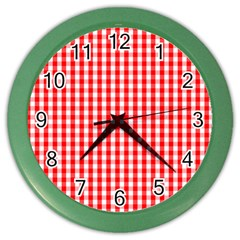 Christmas Red Velvet Large Gingham Check Plaid Pattern Color Wall Clocks by PodArtist