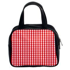 Christmas Red Velvet Large Gingham Check Plaid Pattern Classic Handbags (2 Sides) by PodArtist