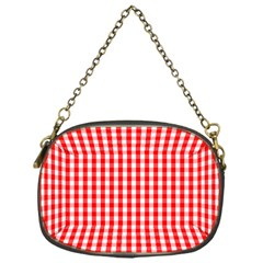 Christmas Red Velvet Large Gingham Check Plaid Pattern Chain Purses (one Side)  by PodArtist