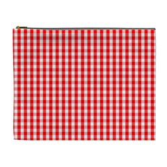 Christmas Red Velvet Large Gingham Check Plaid Pattern Cosmetic Bag (xl) by PodArtist