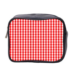 Christmas Red Velvet Large Gingham Check Plaid Pattern Mini Toiletries Bag 2 Side by PodArtist