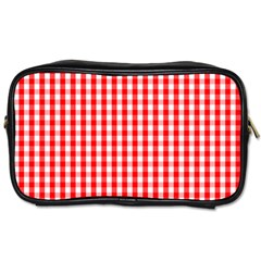 Christmas Red Velvet Large Gingham Check Plaid Pattern Toiletries Bags 2 Side by PodArtist