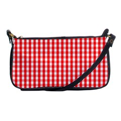 Christmas Red Velvet Large Gingham Check Plaid Pattern Shoulder Clutch Bags by PodArtist