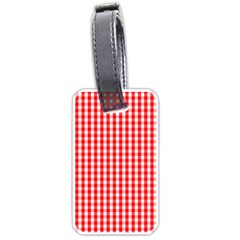 Christmas Red Velvet Large Gingham Check Plaid Pattern Luggage Tags (two Sides) by PodArtist