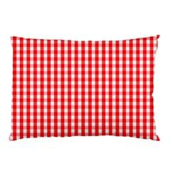 Christmas Red Velvet Large Gingham Check Plaid Pattern Pillow Case (two Sides) by PodArtist