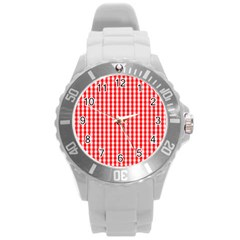 Christmas Red Velvet Large Gingham Check Plaid Pattern Round Plastic Sport Watch (l) by PodArtist