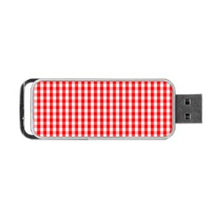 Christmas Red Velvet Large Gingham Check Plaid Pattern Portable Usb Flash (one Side) by PodArtist